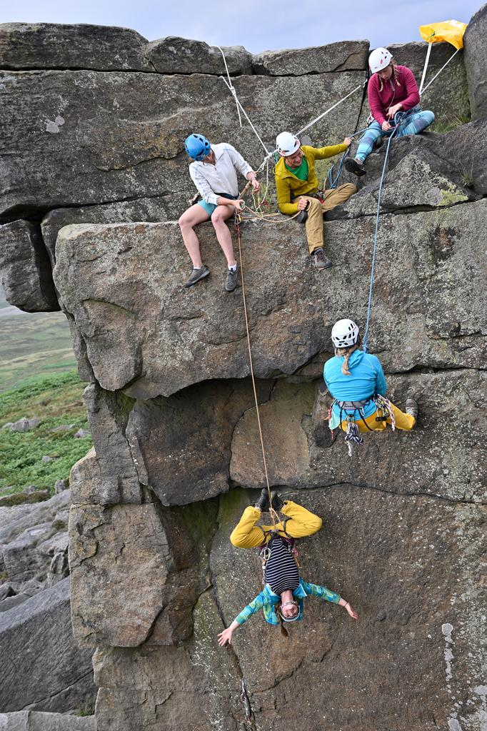Ladies learning rescue techniques at the 2019 Women's Trad Festival