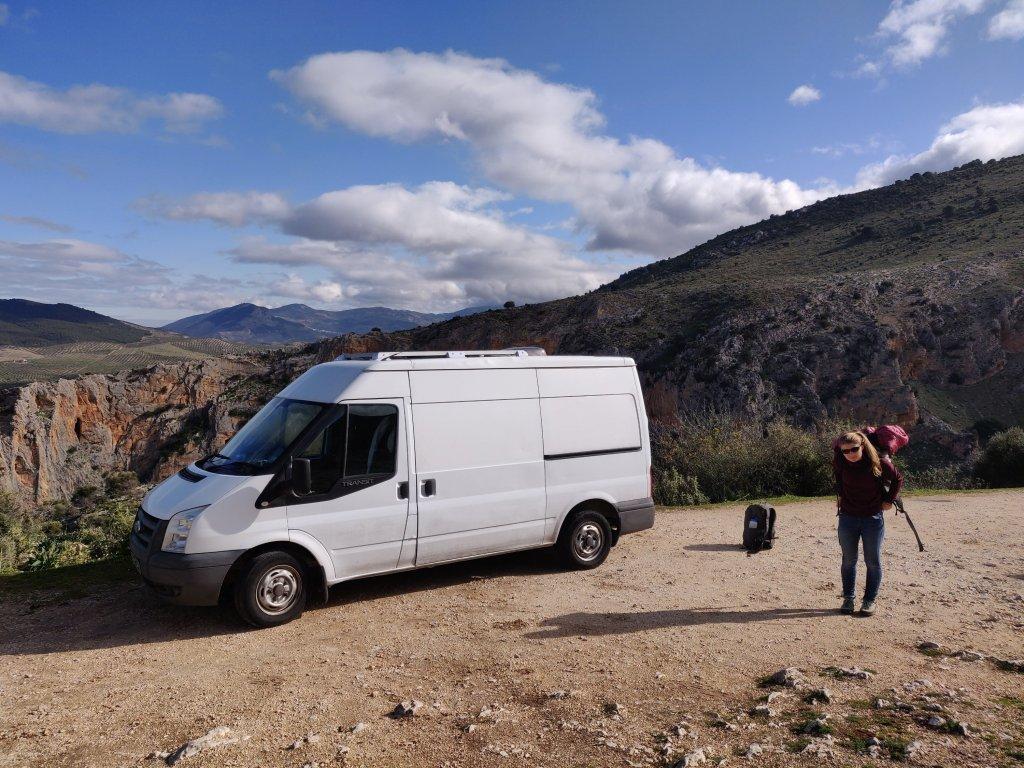 The perfect van spot near the crag at Otiñar, Andalusia, Spain